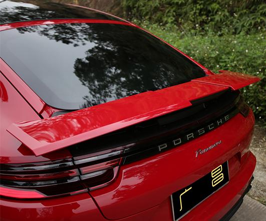 2017款胭脂红帕拉梅拉行政版改装三段尾翼